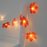 2m 20 LED Orange Autumn Leaves Fairy Lights String Lights - Wedding Decorations