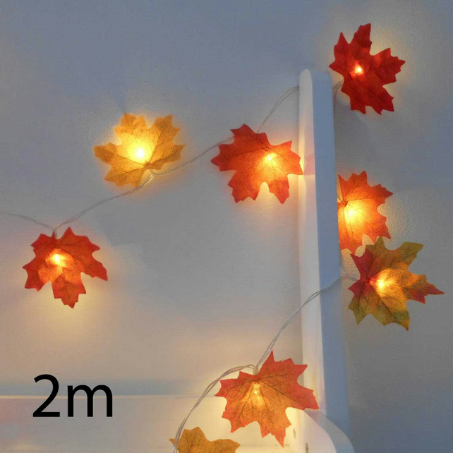2m 20 LED Autumn Leaves Fairy Lights String Lights - Wedding Decorations Garland