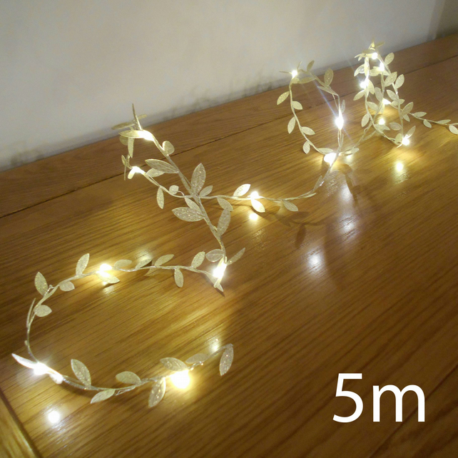 5m 50 LED Gold Leaf Garland Fairy Lights String Lights Wedding Decorations