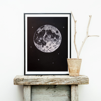 Moon wall art, linocut print, full moon art, moon poster, moon print, moon phase