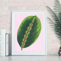 Tropical leaf print, botanical linocut print, leaf print, plant prints, tropical