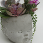 Milly - Doll Head Planter - Handmade Unique Concrete Grey Baby Doll Head Plant P