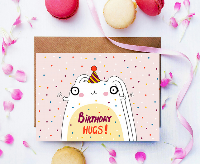 Happy Birthday Cute Bunny Card, Birthday Hugs, Cute Rabbit