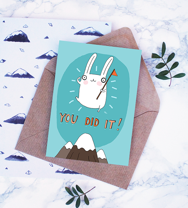 You Did It, Encouragement Card, Funny,Cute Rabbit Card, Achievement