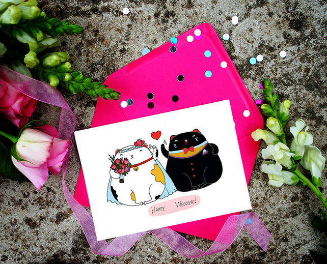 Happy Wedding, Lucky Cats Cute Card, Funny Card