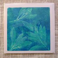 Turquoise Blue Sage Original Monotype Art Card
