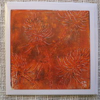 Orange Teasels Original Monotype ArtCard