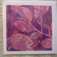Pink Beech Leaves Original Monotype ArtCard