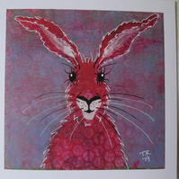 Dotty Pink Hare on Lilac Monoype ArtCard