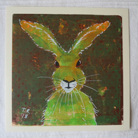 Green and Orange Hare Monotype ArtCard