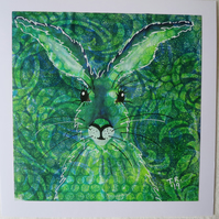 Green Spotty Hare on Vintage Green Monotype ArtCard