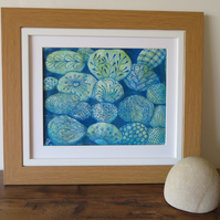 Blue Pebbles - Zendoodling on Mono-type Print