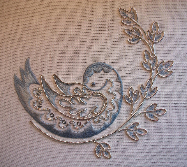 Silver Dove Embroidery Kit