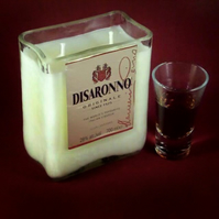 Beautiful upcycled Disaronno bottle candle