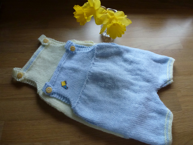 Reduced! Hand Knitted Baby Rompers Two Pairs 0-3 months