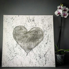 'Mist' Handwoven Silver Wire Heart on Canvas