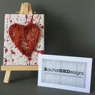 'Valentine' Handwoven Red Wire Heart on Mini Canvas with Easel