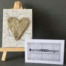 'Mist' Handwoven Silver Wire Heart on Mini Canvas with Easel