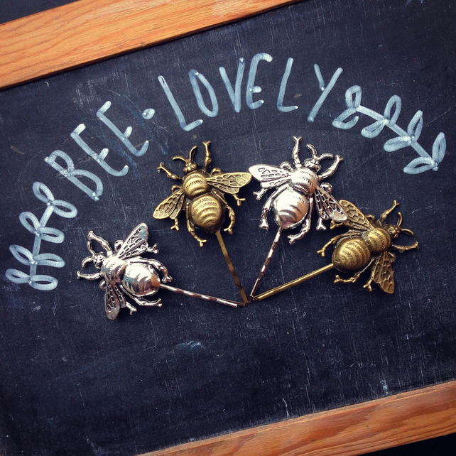 Bee Bobby Pins Brass or Silver Tone