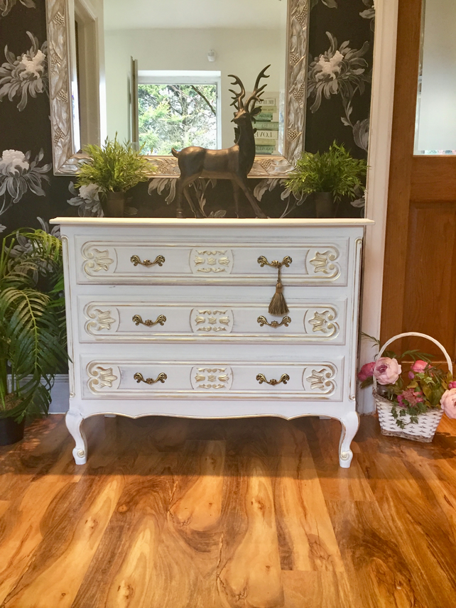 French Carved Chest of Drawers Hand Painted In Annie Sloan Chalk