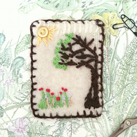"Brooch lrg- pin  - hand embroidered - ""Grow""  - flowers & tree"