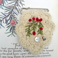Brooch - yew tree berries - hand knitted -kilt pin - jewerally -patch pin