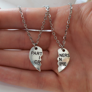 friendship necklace - set of two silver necklaces - partners in crime set