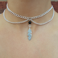 choker - silver chain choker - feather choker necklace