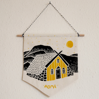 Yellow House Under The Stars Wall Hanging