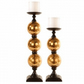 Pillar Shape Candle Holders Mercury Glass Stand Candlestick Tealight Set of 2 SR