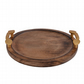 Wooden Round Serving Tray Brown Tea Tray Dish With Golden Handles SRWP02