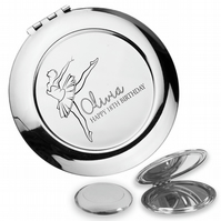 Personalised engraved 18TH BIRTHDAY compact mirror gift, ballerina - BALL18