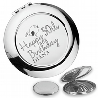 Personalised engraved 50TH BIRTHDAY compact mirror gift, cute bird - BD50