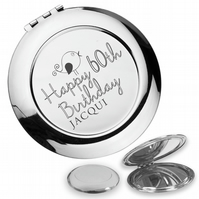 Personalised engraved 60TH BIRTHDAY compact mirror gift, cute bird - BD60