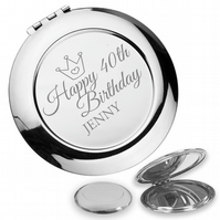 Personalised engraved 40TH BIRTHDAY compact mirror gift, princess - PR40