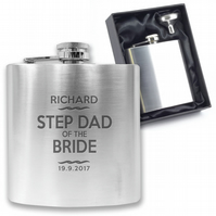 Personalised engraved STEP DAD OF THE BRIDE hip flask wedding gift - TT6
