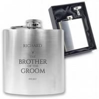 Personalised engraved BROTHER OF THE GROOM hip flask wedding gift - CO7
