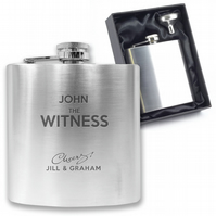 Personalised engraved WITNESS hip flask wedding gift - CH3