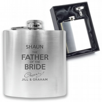 Personalised engraved FATHER OF THE BRIDE hip flask wedding gift - CH4