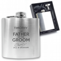 Personalised engraved FATHER OF THE GROOM hip flask wedding gift - CH5