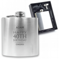 Personalised engraved 40TH BIRTHDAY hip flask keepsake gift - BD40