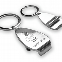 Engraved 30TH BIRTHDAY bottle opener KEYRING gift - Cheers! - PKB30