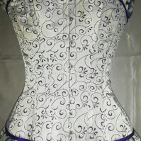 "Hand made 23"" silver and purple satin overbust steel boned corset hand made"