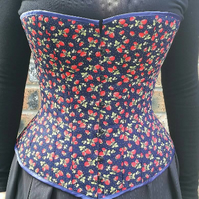 "Hand Made 26"" steel boned overbust corset in strawberry printed cotton"