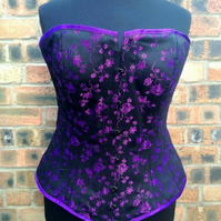 "Hand made 34"" overbust corset in black and purple Rosebud, steel boned"