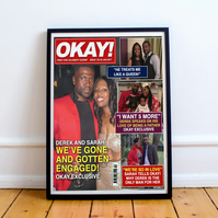 Personalised Magazine Cover Poster, Print, Gift (Add your own text & image)