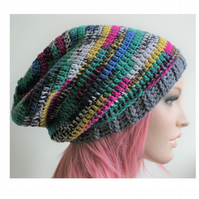 Long Multicoloured Crochet beanie with Gray band