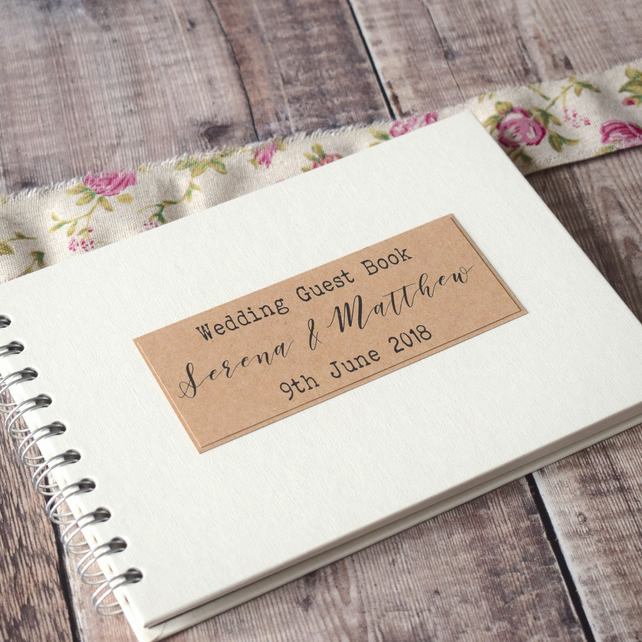Rustic Handmade Wedding Guest Book - A5 Wire Bound