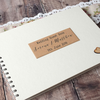 Rustic Large Wedding Guest Book Handmade with Wooden Hearts
