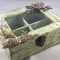 Shabby, vintage inspired glass topped swan wooden jewellery  keepsake box